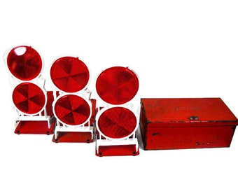 Vintage Roadside Reflectors - Safety Reflector Lights, Red Anthes Auto Safety Lights,