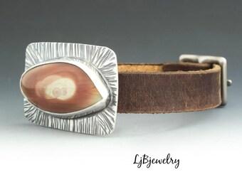 Jasper Cuff, Leather Cuff, Bracelet, Sterling Silver, Jasper, Leather, Artisan Jewelry, Handmade, Metalsmith, Metalwork