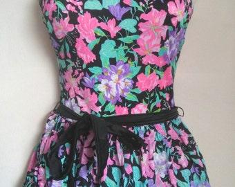 Vtg 80's skirted swimsuit mini dress sz sml