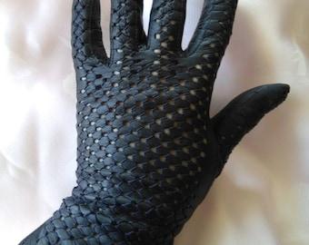 Vintage darkest blue leather gloves sz sml