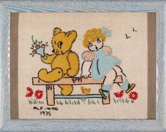 Darling New Baby Gift! 1935 Teddy Bear & Blonde Toddler, Hand Embroidered Linen, Excellent Condition, Framed, UV Glass, Ready to Hang