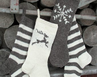NEW 2017! Christmas Stockings Hand knit Wool Personalized Dark Gray Purple and White with Deer Snowflakes Stripes ornaments