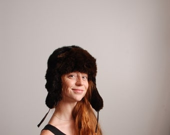 70s Vintage Russian Ushankas brown thick rabbit fur heavy winter hat with earflaps and under chin tie