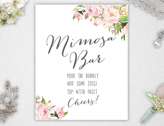 mimosa bar sign      printable      instant download      8x10
