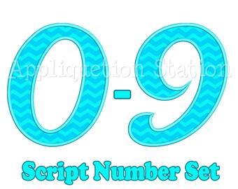 Script Number Set Applique Machine Embroidery Design cursive 1 2 3 4 5 6 7 8 9 0 birthday INSTANT DOWNLOAD