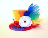 Mini Top Hat Headband, 1st Birthday, Rainbow, Tea Party, Sparkle Birthday, Circus Costume, Photo Prop, Cake Smash, Pageant, MSC-005