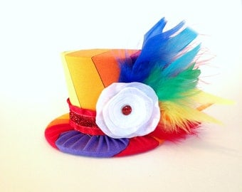 Mini Top Hat Headband, 1st Birthday, Rainbow, Tea Party, Sparkle Birthday, Circus Costume, Photo Prop, Cake Smash, Pageant, MSC-005