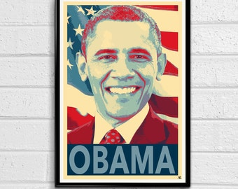 United States President Barack Obama Campaign Political Poster America Print Canvas