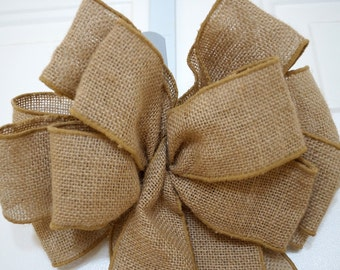 10 Burlap Bows Rustic Wedding, Burlap Bow, Country Chic Wedding, Burlap Bow for wreaths