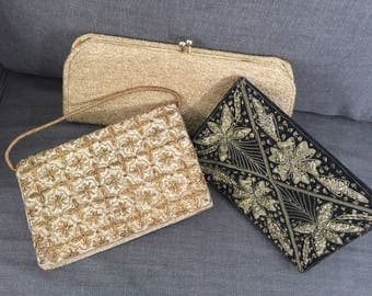 Dazzling lot of 3 vintage clutch purses