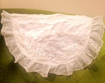 Antique French Hand Embroidered Muslin Baby Pillowcase