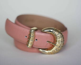 vintage peach leather belt with decorative buckle size L