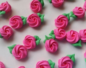 Mini hot pink royal icing rosettes -- Edible cake decorations cupcake toppers (24 pieces)