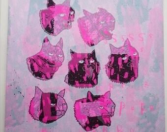 Cat screenprint - A Bunch of Pussies (pink fur)
