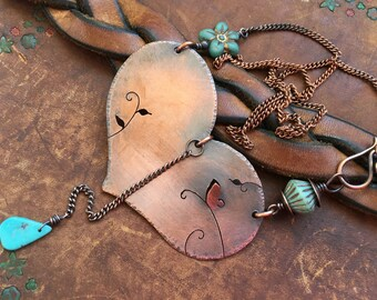 Rustic Artisan Heart and Turquoise  'To where my hearts belongs' necklace n1 - artisan handout heart  nature inspired Kingman Turquoise