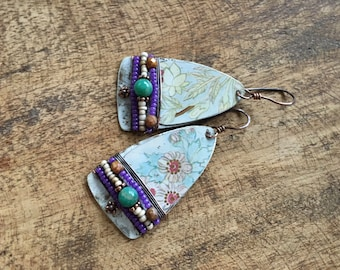 Tin Jewelry Rustic Floral Bohemian earrings n260- boho up cycled . recycled tin . floral tin . pink . Russian Amazonite . beaded . spring