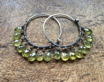 Rustic Sterling Silver Droplets of Green Olive Garnet hoop earrings a112. faceted green garnet stones . stones fringes . artisan fine  gypsy