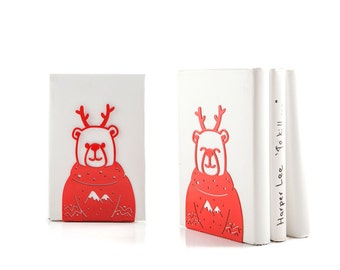 A pair of decorative  bookends Christmas Bears // Decor for holidays // FREE SHIPPING // Christmas sweaters // For animal lovers