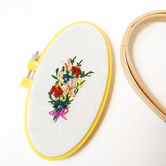 Wildflower embroidery hoop art vintage floral