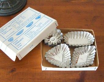 Vintage Box of 24 Mormatt Tartlet Tins made in Sweden, 4 Shapes, 1 Recipe for Almond Tartlets Just In Time For Easter!