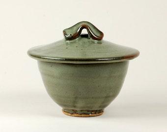 Celadon sugar bowl or condiment jar