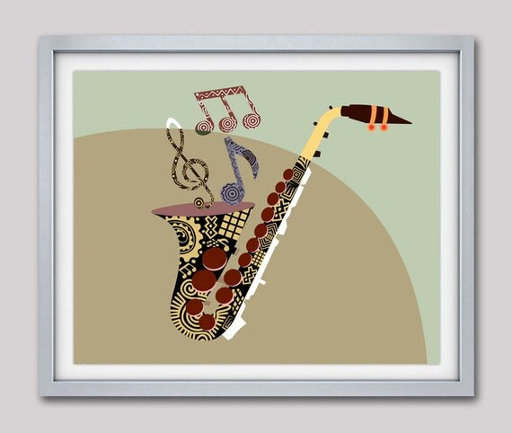Saxophone Music Art, Musical Notes Art Print, Abstract Music Art Saxophone, Gift for Music Lover