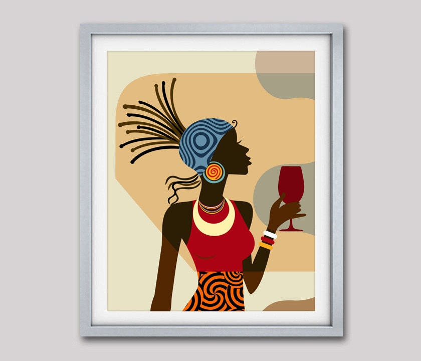 Afrocentric Decor Black Woman Painting African American
