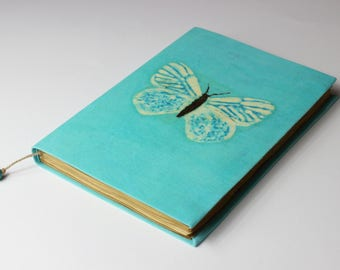 Butterfly, blue Turquoise Batik Journal, diary, notebook, old paper, batik fabric, blank book