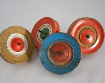 Wooden spinning tops, set of four vintage Japanese koma