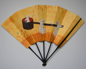 Decorative fan, bamboo and paper card, Japanese 'ohgi' sensu, made in Kyoto #3