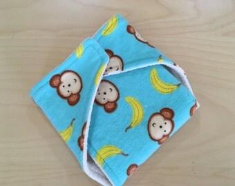 Small Daytime Daddy Flat - snap wrap, flat diaper. Monkey