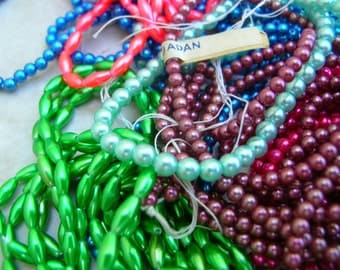 Lot of Vintage Japanese Beads - Assorted Glass Beads - Mixed Glass Beads - Pink - Blue - Green