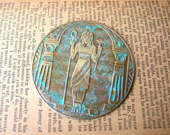 Egyptian Revival Medallion - Pharaoh Stamping - Large Brass Stamping - Patina Brass