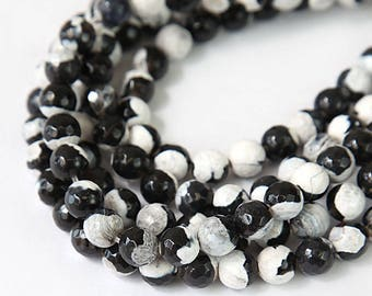 Agate Beads, 8mm Faceted Round, Black and White - eGF-AG540-8