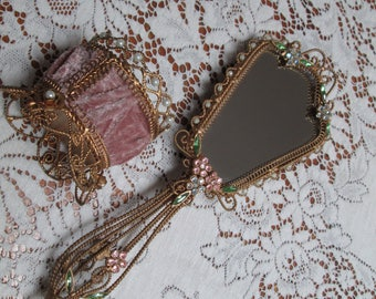 shabby chic embellished vintage hand mirror and dresser pin holder,pink,green rhinestone vanity set,velvet mirror and dresser hairpin holder