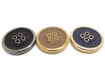 6 pcs 0.59~0.98 inch High-grade Black/Brown/Blue 4 Hole Plastic Shell Buttons for Suits Coats