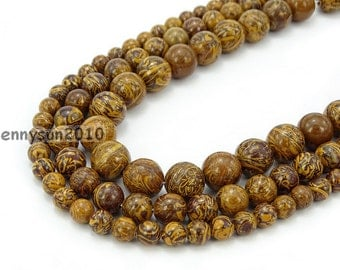 "Natural Elephant Skin Jasper Gemstone Round Beads 15.5"" 6mm 8mm 10mm 12mm  for Jewelry Making Crafts"