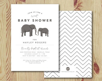 Elephants // Baby Shower Invitation - Printable Digital File