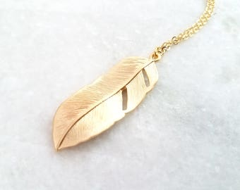 Long Feather Necklace  Long Gold Necklace  30 inches