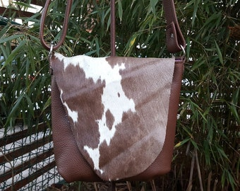 KUHIE®, cow fur bag in brown leather and Brown and white cowhide