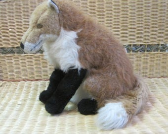 Fox Plush Toy Real Life Looking handmade by Mira-Lu Vintage Ann Arbor 15""