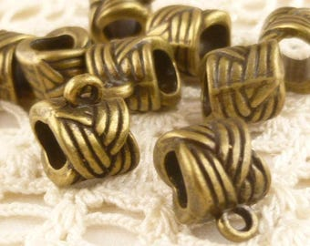 Antique Bronze Braided Rope Knot European Slider Bail Connector (6) - BF11