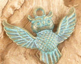 Patina Turquoise Owl Charms, Vintage Look Pendant (2) - A59