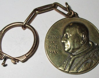 Beautiful Vintage Brass Key Ring / Medal of Pope John XXIII / St. Christopher  circa 1960s - Vatican Council