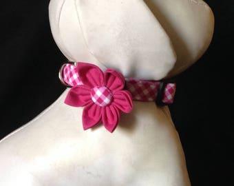 Dog Collar Flower Set - Magenta  Gingham  - Size XS, S, M, L, XL