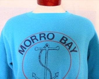 vintage 70 80s Morro Bay California light teal blue green fleece graphic sweatshirt nautical anchor circle logo print tourist souvenir Large