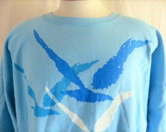 vintage 80s Carmel-by-The-Sea California pastel sky blue woven cotton graphic sweatshirt long sleeve t-shirt tourist souvenir crewneck Large
