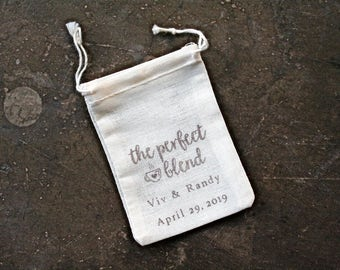 Wedding favor bags, set of 25. Personalized double drawstring coffee favor bags. Hand stamped Perfect Blend design for coffee or tea favors.