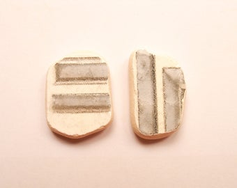 2  pendant shaped  pieces, Patterned Gray/White,  Sea Pottery Lot,Pendant/Ring Sized,  Mosaic Pieces,