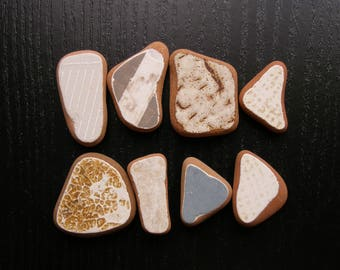 Patterned Terracotta Pieces, Sea Pottery Bulk, Textured Beach Pottery, Pendant/Ring Sized ,Earthy Colors, Mosaic Pieces